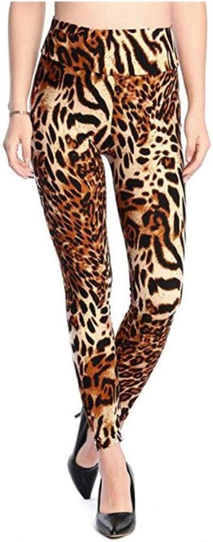 Ives Jean Leggings de mujer Leggings elásticos de cintura alta delgados Leggins con estampado de leopardo Pantalones de mujer Leggings de algodón: Amazon.es: Ropa y accesorios