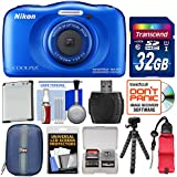 Nikon Coolpix W100 Wi-Fi Shock & Waterproof Digital Camera (Blue) with 32GB Card + Case + Battery + Flex Tripod + Floating Strap + Kit