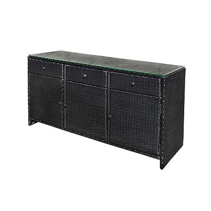 Keter Rattan Style 3 Drawer Cart.Amazon Com Black 3 Drawers Wicker Rattan Buffet Serving Cabinet
