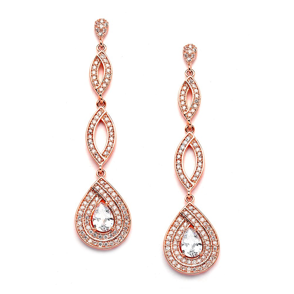 Mariell Micro-Pave Rose Gold CZ Art Deco Dangle Chandelier Wedding Earrings - Blush Jewelry for Brides