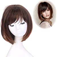 STfantasy Bob Wig Ombre Brown Short Straight Synthetic Hair for Women Girl Cosplay Costume Halloween Everyday Daily Wear