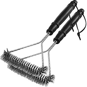 Handyone [2 Pack Grill Brush,BBQ Cleaning Brush,Barbecue Grates Cleaner,Stainless Steel Wire Bristles,12 inch