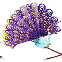 Max-elf 3D Pop Up Handmade Greeting Card Paper Craft Gift with Envelope (Peacock)