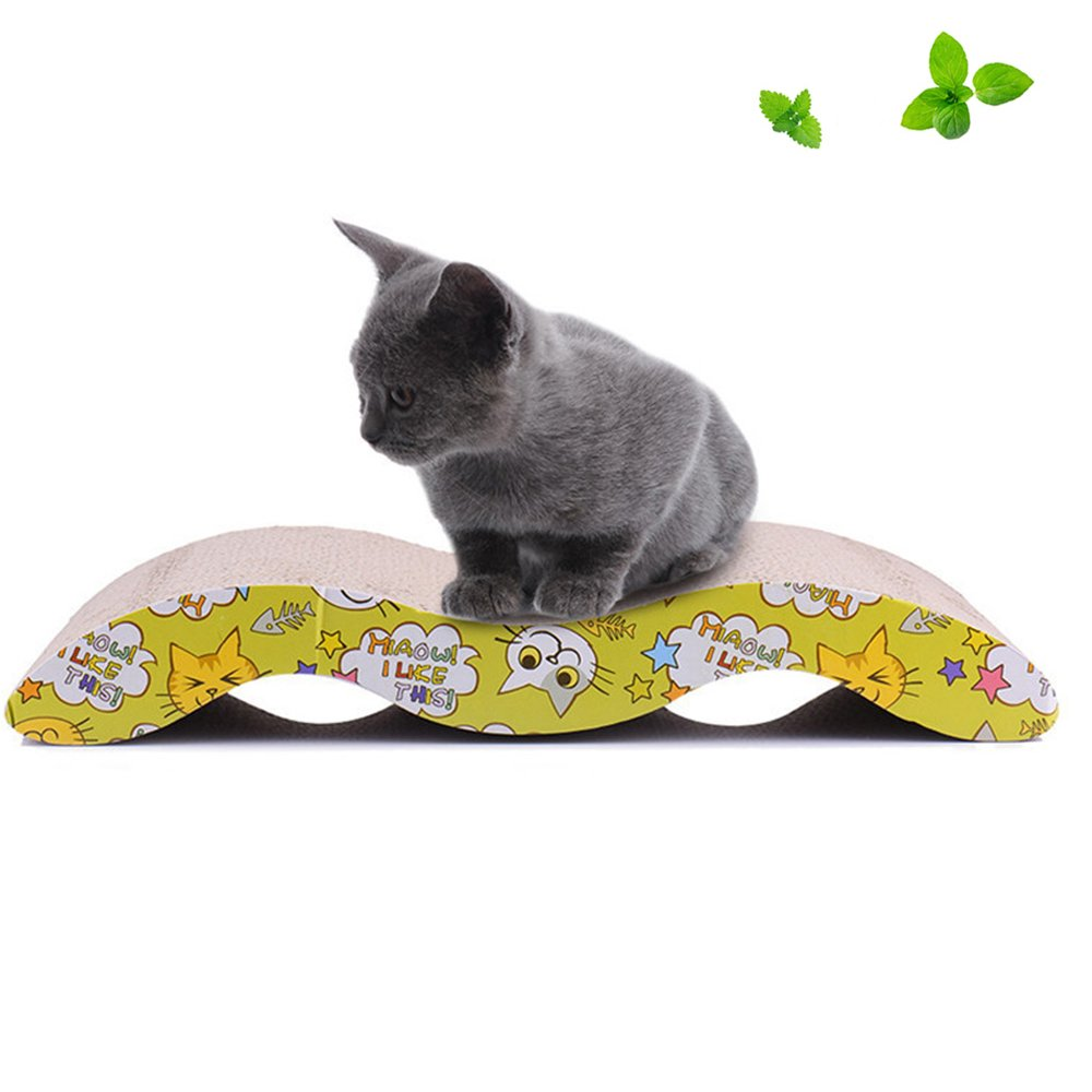 Langxian Cat Scratcher Cardboard, Recyclable Corrugated Scratching Pad with Wave Curved Catnip Scratch-resistant Bed Sofa for Cat 1Pcs Random Color (Small)