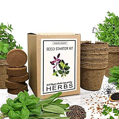 Sower's Source Herb Garden Starter Kit (Indoor) Natural, Organic Planting | Pots, Markers, Seed Packets, Soil Mix | Fresh Basil, Cilantro, Parsley, Sage, Thyme | Beginner Friendly