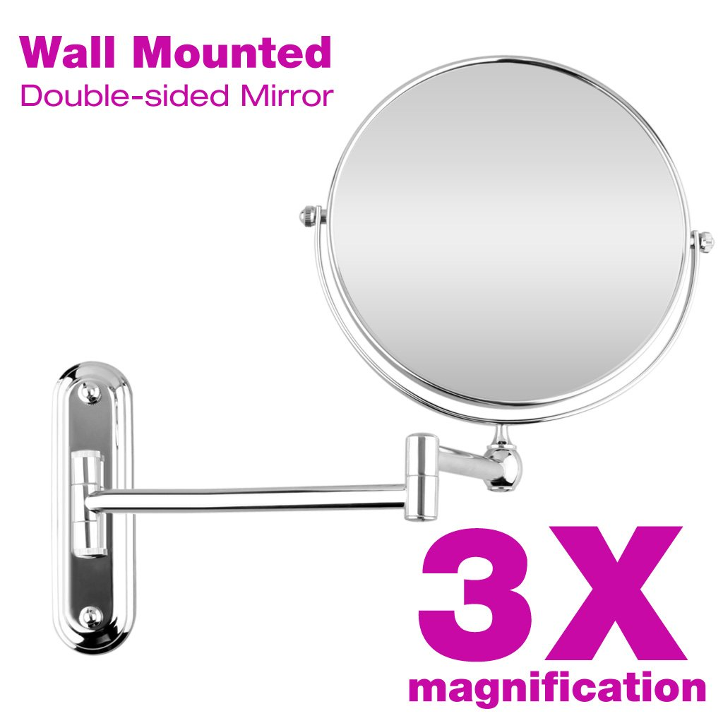 Amazon.com: Floureon 8 Inches Double Sided Wall Mount Makeup Shaving Bathroom  Mirror (3x Magnification): Home U0026 Kitchen