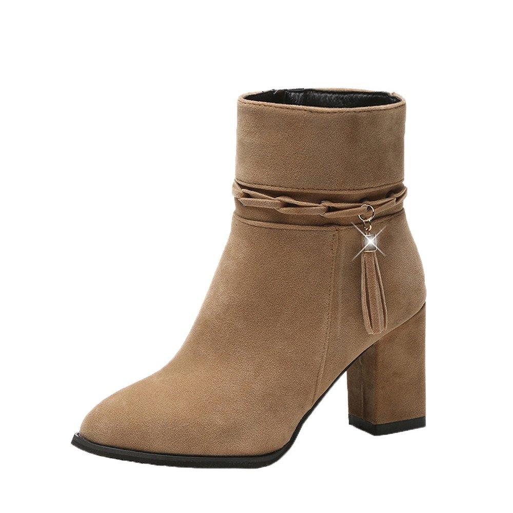 Covermason Talons Bottes Boots Les Femmes Peluche Talons Hauts Botte Bottines Courtes en Peluche Pointues Botte Orteil Bottes Talons Kaki 978698a - avtodorozhniks.space