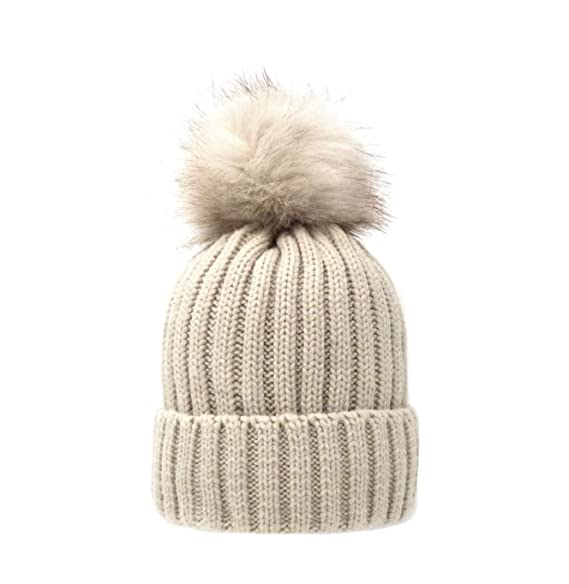 6cd4ed50c26a0 Women's Winter Trendy Warm Faux Fur Pom Pom Fashion Knit Beanie Hats MM3003