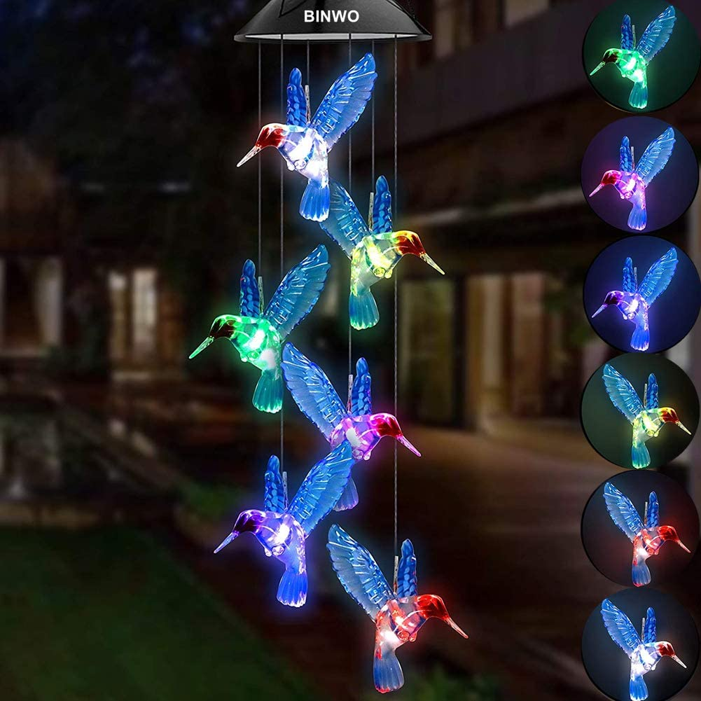 BINWO Solar Wind Chimes Hummingbird, Solar Wind Chimes Changing Colors Solar Lights Chimes, Wind Chimes LED Outdoor Decor, Yard Decorations Solar Light Mobile for Home Party, Gifts for Mom Birthday