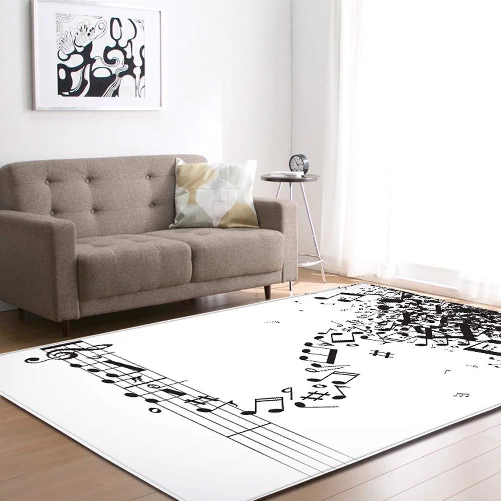 Alfombra De /área De M/úsica Teclado De Piano Negro Moda Alfombras De Juego para Ni/ños En Blanco Y Negro del Dormitorio Decoraci/ón del Hogar Felpudo,A,150x100cm