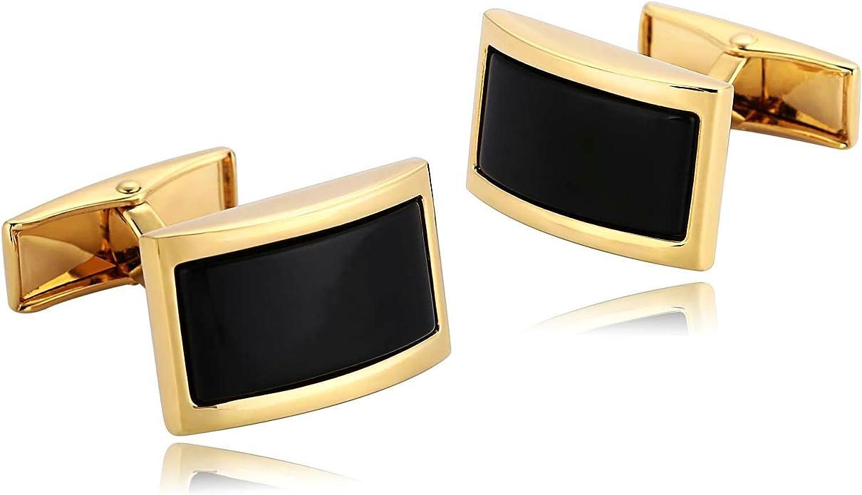 AueDsa Gemelos para Hombre Acero Inoxidable para Camisa Oro Negro Gemelo de Camisa Arco Rectangular: Amazon.es: Joyería