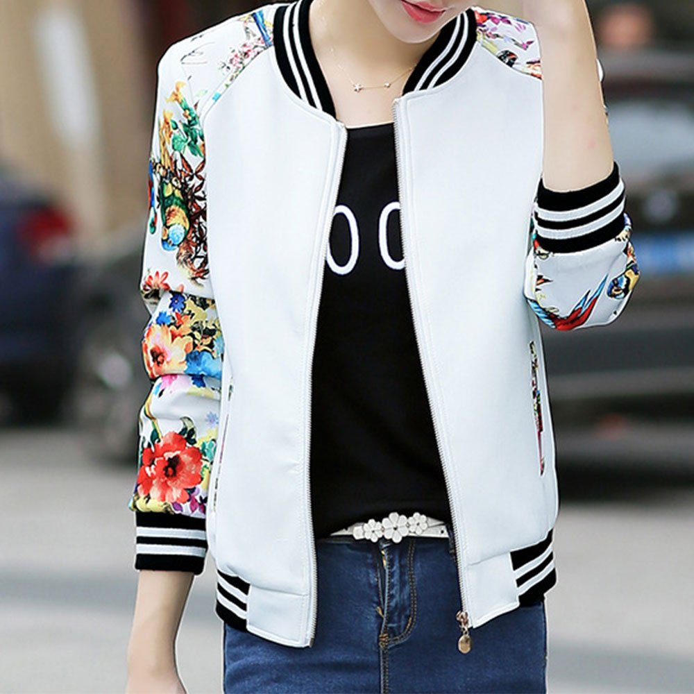EVEDESIGN Womens Floral Print Baseball Bomber Jacket Slim Fit Casual Zip up Outwear
