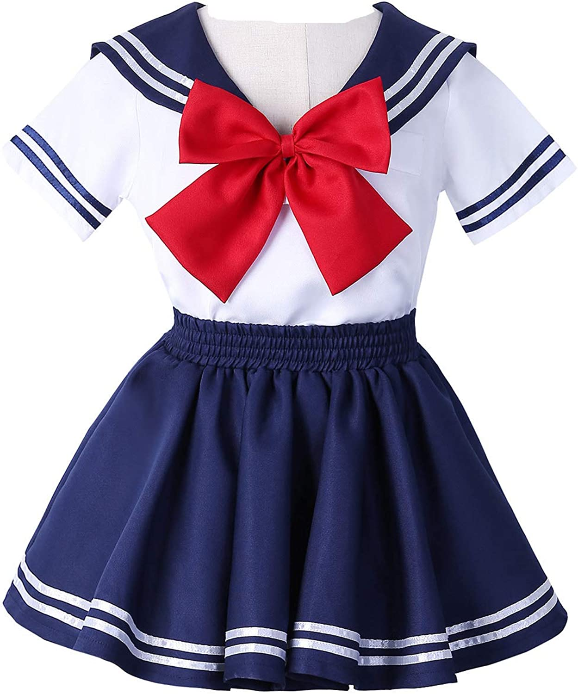 JOYSHOP Anime Kids Girls School Uniform Sailor Dress