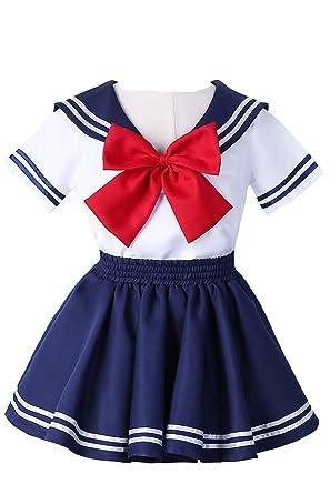 df48bf79d679b Image Unavailable. Image not available for. Color: Joyshop Anime Kids  Girl's School Uniform Sailor Dress ...