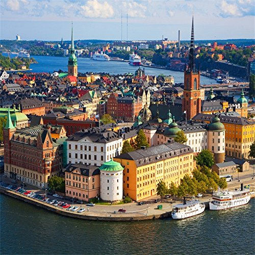 OFILA Sweden Backdrop 5x5ft the Panorama of Stockholm City Landscape Old Town Capital Landmark Honeymoon Trip Churach Palace Photos Northern Europe Scenery Skyline Ancient Scandianvia Shoots Props (Real Photo Sweden)