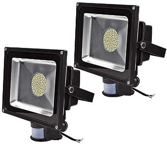 Leetop 50W 30W 10W Blanco Cálido LED Foco Proyector Luz, Foco proyector con Iluminación LED y PIR Sensor de Movimiento(2pcs:50W)