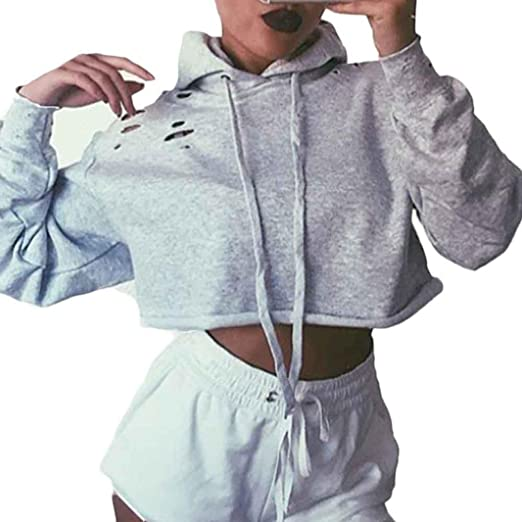 1bb537ce Amazon.com: Auwer Women Hoodie Holes Sweatshirt Jumper Sweater Crop Top Coat  Sports Pullover Tops: Clothing