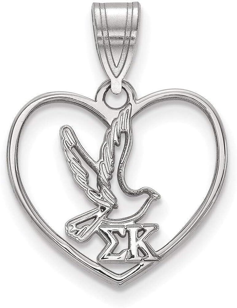 Lex /& Lu LogoArt Sterling Silver Sigma Kappa Heart Pendant LAL163695
