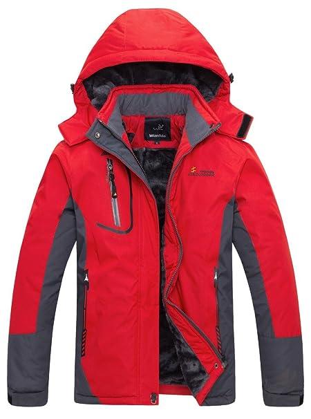 wantdo Women s Waterproof Mountain Chaqueta Forro Polar WIND Proof – Chaqueta de esquí rojo