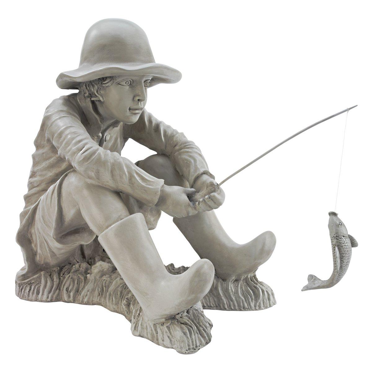 Design Toscano Gone Fishing Fisherman Boy Garden Statue, 17 Inch, Polyresin, Two Tone Stone