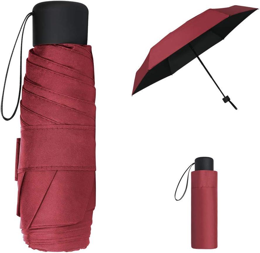 Vicloon Mini Paraguas, Paraguas de Viaje Portátil 6 Varillas con Puesto de Paraguas y 210T Negro Tela de Goma, Paraguas Plegables y Compacto, Mini Viento Paraguas 95% De Resistencia UV - Rojo Oscuro