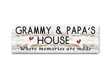 Where Memories Are Made Distressed 5x10 Sign GRAMMY /& PAPA/'S House Sign