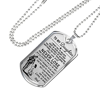 To My Daughter Love Father Veterans Pendant Necklace