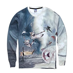 flying cats 3d sweatshirt long sleeve O-neck hoodies women sweatshirts (XL)