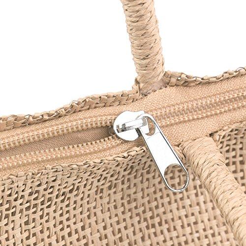 MagiDeal Donna Borsa Tote della Tessuta Paglia Sacchetto Spiaggia di Estate - Beige