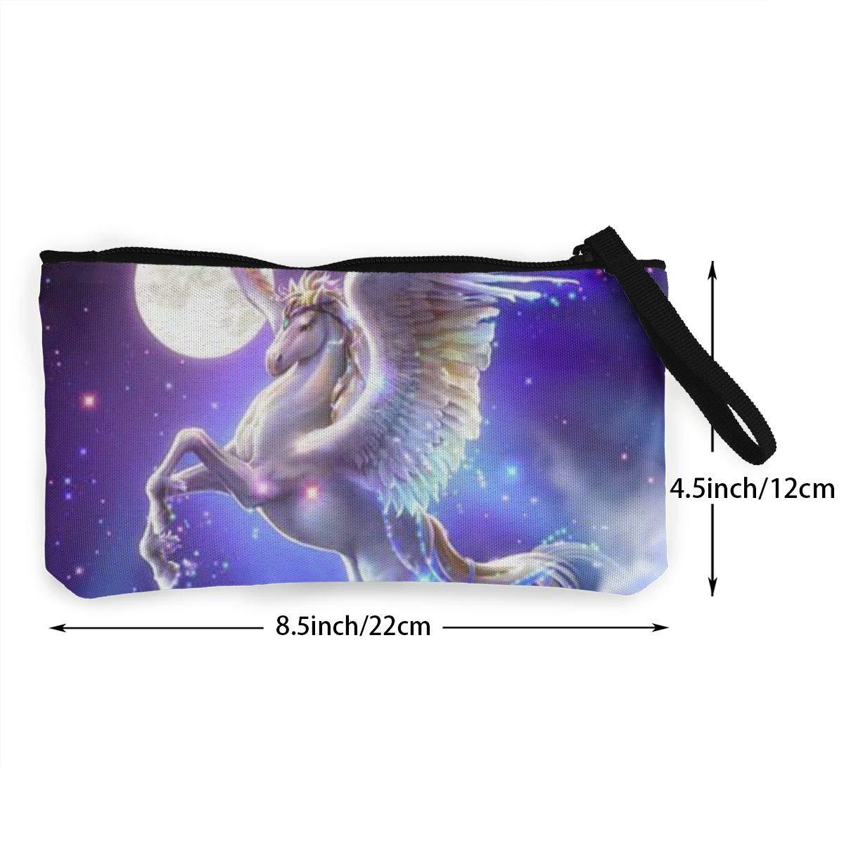 YUANSHAN Pegasus Unicorn Unisex Canvas Coin Purse Change Cash Bag Zipper Small Purse Wallets with Handle