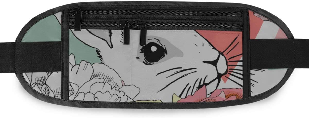 Travel Waist Pack,travel Pocket With Adjustable Belt Pattern Flowers Rabbits Geometric Running Lumbar Pack For Travel Outdoor Sports Walking