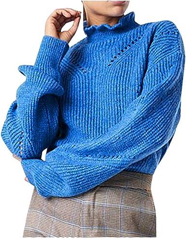 Overdose Jerseys Mujer Tallas Grandes Top Corto De Manga Larga Marca Blusa Con Estilo Punto Jersey Azul Comprar Amazon Es Ropa Y Accesorios