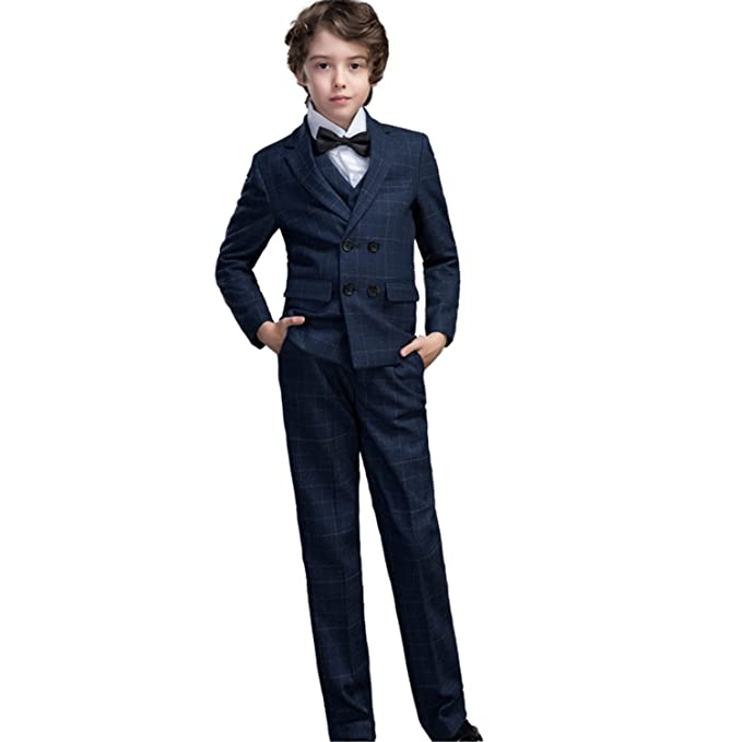 5619da1ed Yanlu 5 Piece Formal Boys Suits Set Kids Dresswear Plaid Suit For Weddings:  Amazon.ca: Clothing & Accessories