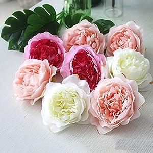 MEIHON 10pcs High Simulation Core Peony Flower Head Silk Flower DIY Wedding Flower Wall Background Decoration Silk Rose 72