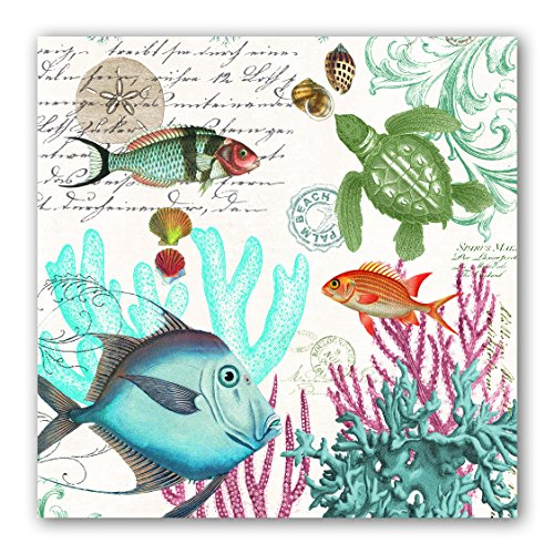 Michel Design Works 20-Count 3-Ply Paper Luncheon Napkins, Sea Life