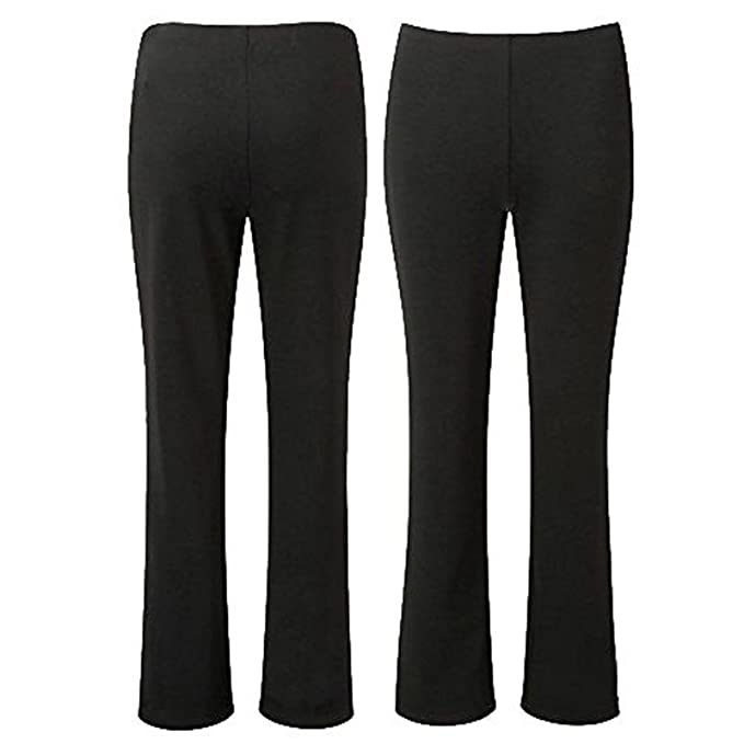 87e2235ad3e OWASI ® Ladies Stretch Trousers Pack of 2 Bootleg Stretch Ribbed Trousers  Black Navy Brown Size 8-26  Amazon.co.uk  Clothing