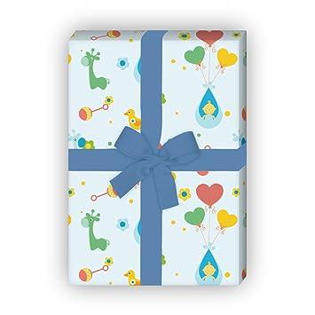 4 Bögen Süßes Hellblaues Babygeburts Geschenkpapier Für