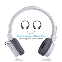 Écouteurs pour enfants avec ports de partage pour le partage de musique, TermichyÉcouteurs réglables sur l'oreille pour enfants avec contrôle de volume et câbles de microphone de 3,5 mm pour téléphones cellulaires Apple Android Smartphones ordinateurs Ordinateurs portables (Blanc)