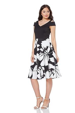 605e06b6ec Roman Originals Women Fit and Flare Floral Scuba Dress - Ladies Cold  Shoulder Knee Length Skater Occasion Wedding Royal Ascot Dresses Clothing:  ...