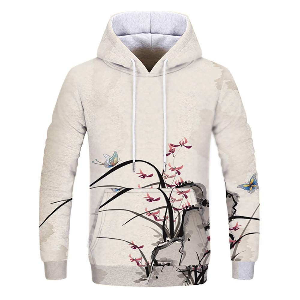 Sweatshirts Clearance, Toimoth Women Autumn Winter Print Long Sleeve Hooded Sweatshirt Pullover Tops Blouse(Beige,S)