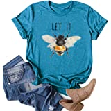 Wudia Women's Vintage Let It Bee Letter Print T Shirts Summer Short Sleeve Cute Bee Graphic Tees Tops