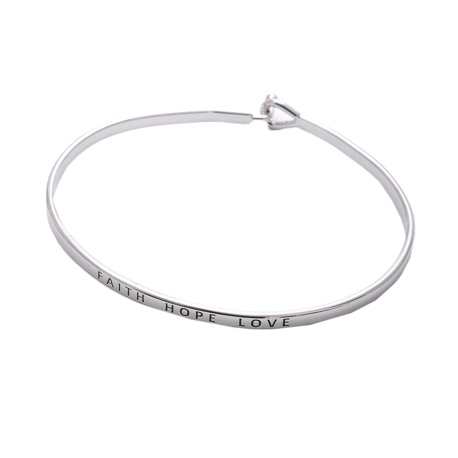 Spinningdaisy Personal Mantra Message Cuff Hook Bracelet (FAITH HOPE LOVE-Silver)