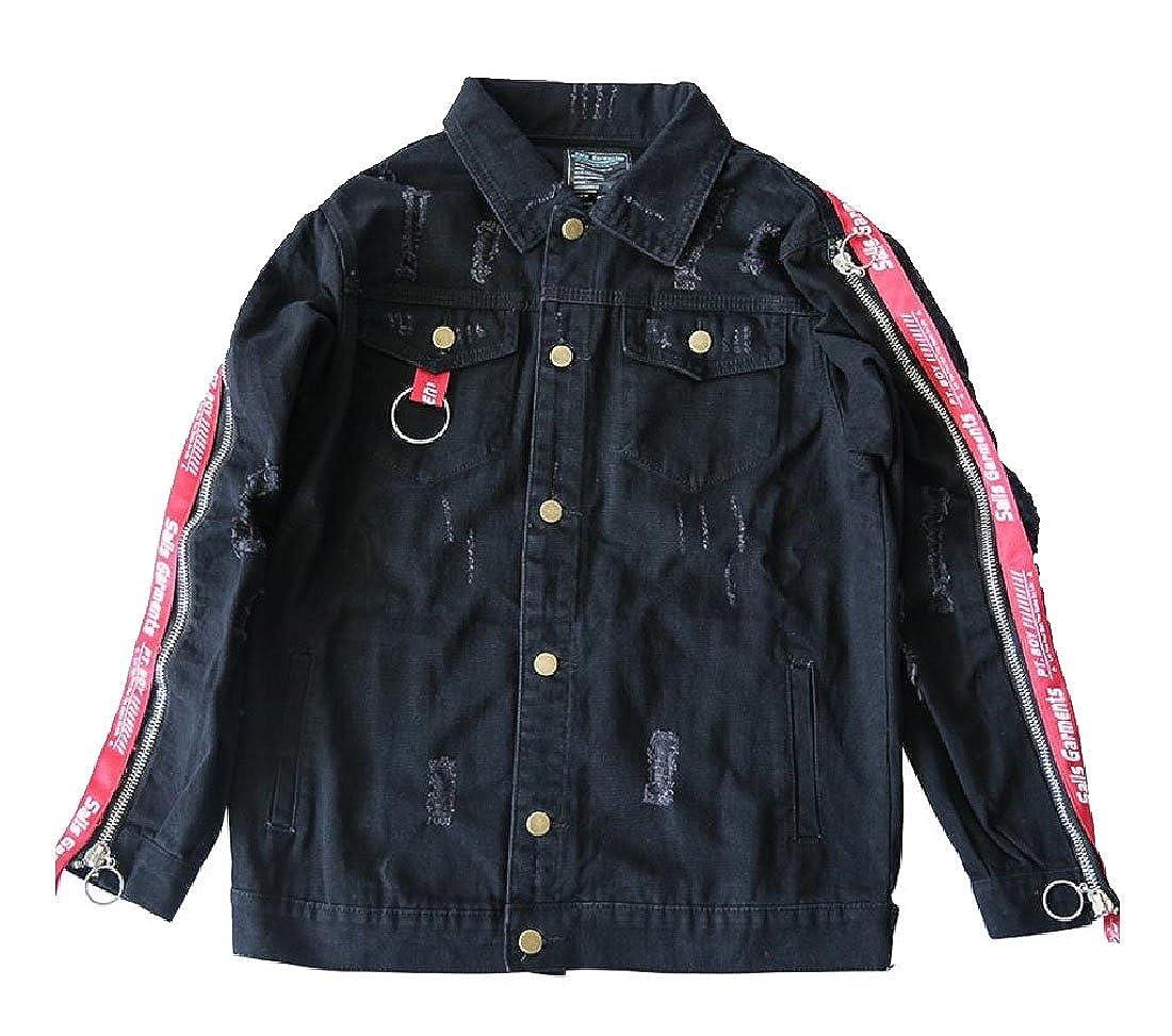 Comfy-Men Hip-Hop Personalized Jean Jacket Club Letter Printed Coat