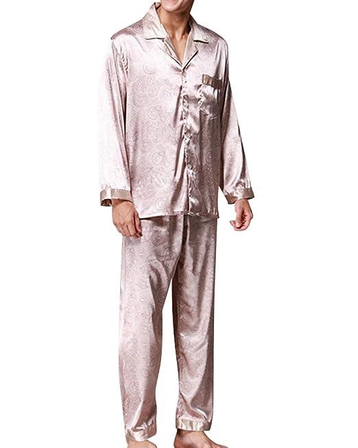 Hombre Satén Silky Conjunto Pijama V-Cuello Manga Larga Pantalones Pijama Camello L