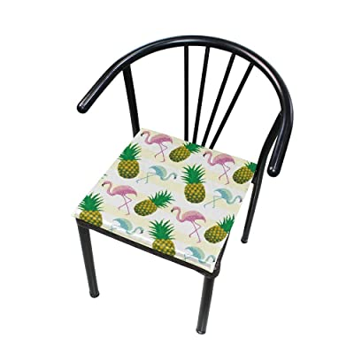 "Bardic HNTGHX Outdoor/Indoor Chair Cushion Tropical Pineapple Flamingo Square Memory Foam Seat Pads Cushion for Patio Dining, 16"" x 16"": Home & Kitchen"