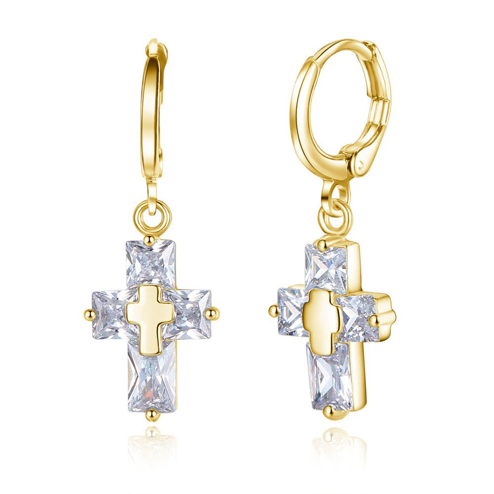 18K Gold Plated Shining Cubic Zirconia Cross Charm Long Hoop Drop Earrings