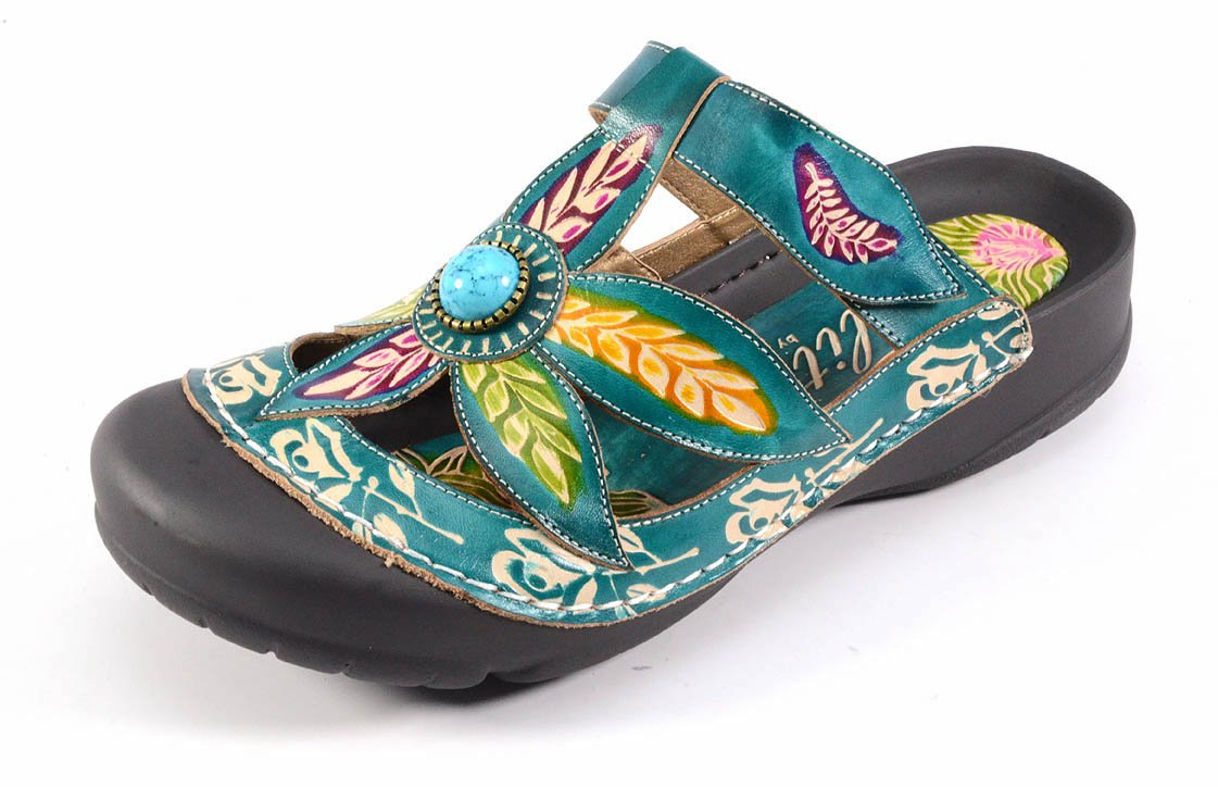 Clogs Corkys Women's Coastal Turquoise Multi Leather Bumped Toe (7, Turquoise)
