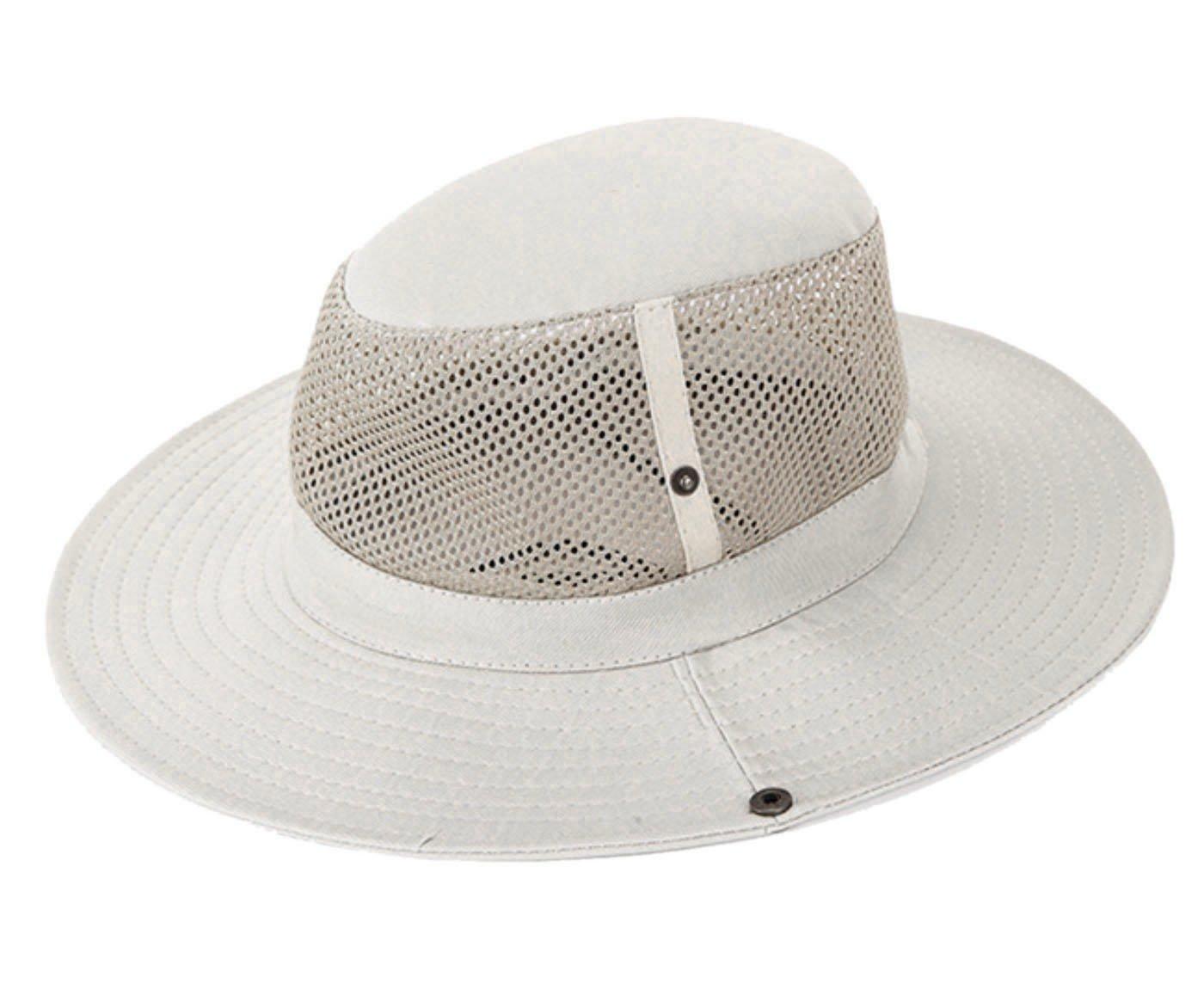 AOTU - Sombrero de Pescador Camping Senderismo Gorro de Sol al Aire Libre de Ala Malla Transpirable con Barbijo para Unisex - Beige