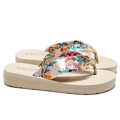 Women Bohemia Summer Beach Sandals Wedge Platform Thongs Slippers Flip Flops