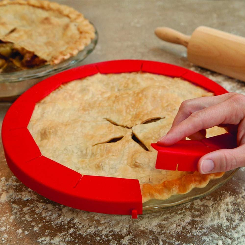 Denzar Adjustable Silicone Pie Crust Shields, Pie Protectors, Fits 8.5'' - 11.5'' Rimmed Dish, Red